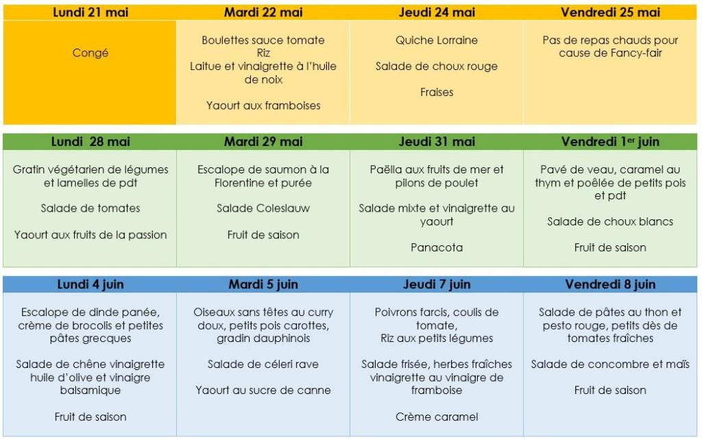 menus 1 mois