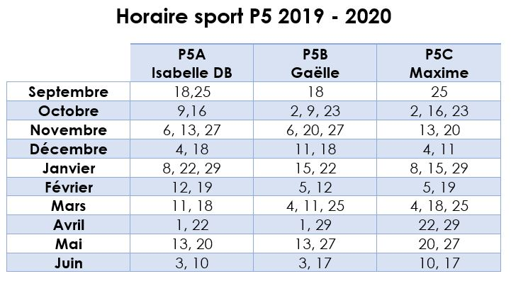 horaire sport 20192020